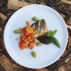 Grilled sea bass with pumpkin salsa and tapenade
