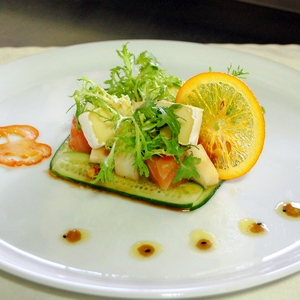 Creative appetizer with salmon