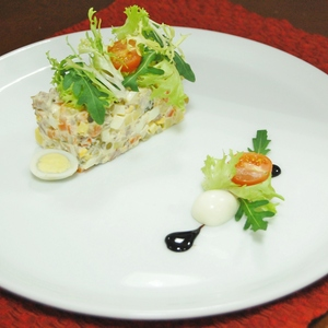 Olivier Salad with veal